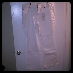 White flare jeans
